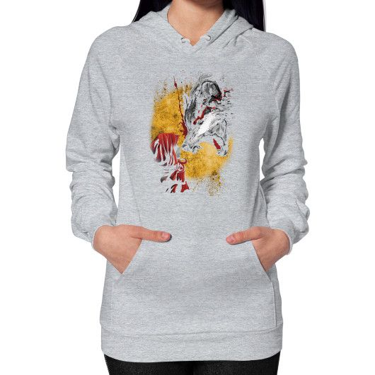 Red and wolf Hoodie (on woman)