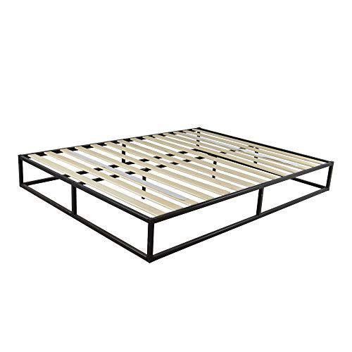 Idealbuy Iron Bed Frame Full Size Metal Beds Frame Black Simple