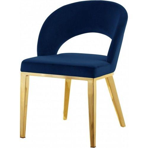 Blue Velvet Modern Rounded Back Accent Dining Chair Gold Legs