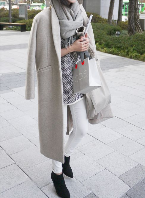 gray jacket, winter outfit, black booties, gray scarf