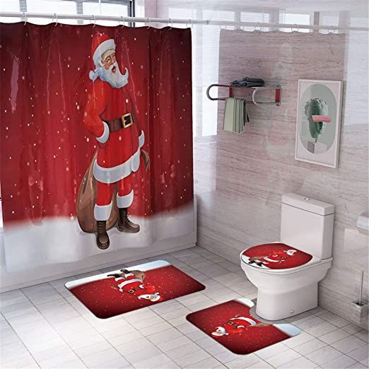 Ekuee Christmas Shower Curtain Sets With Non Slip Rugs Toilet Lid Cover And Bath Mat Durable Waterpr In 2020 Christmas Shower Curtains Bathroom Rug Sets Toilet Covers