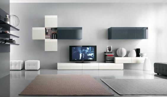 White TV and Books Cabinet big room inspiration Pinterest