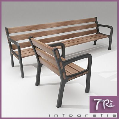 bench montseny 3d model max 1