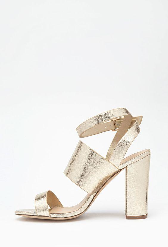 Crackled Metallic Sandals | Forever 21 | Gold | Size 8.5 | $30