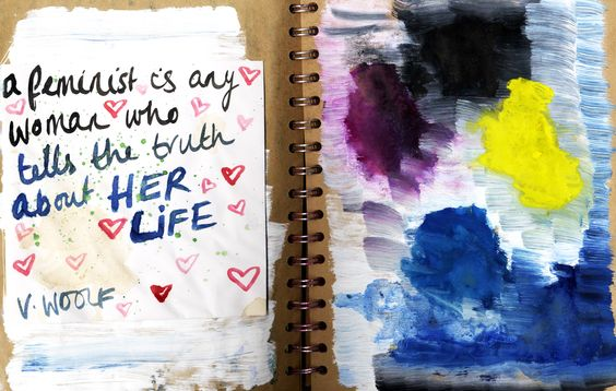 Jules&Tea: Colour Woolf  #getmessyartjournal #sketchbook #colour #abstract #quote #feminism