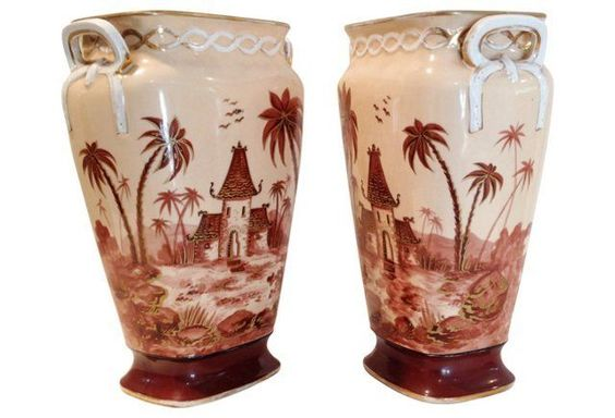 Stylish Tall French Vases, Pair
