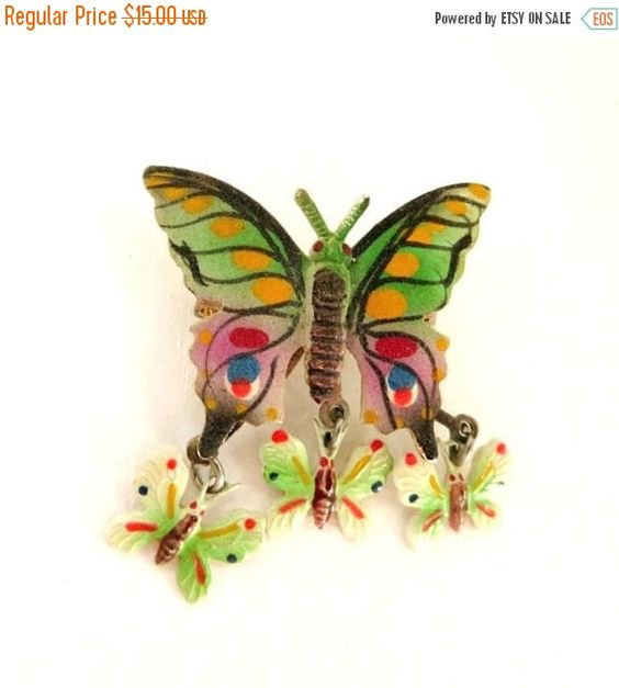 Vintage Korea Jewelry Butterfly Brooch Hand by LeesVintageJewels