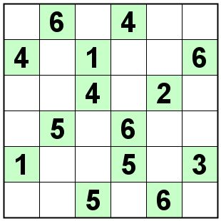 Number Logic Puzzles: 20680 - Sudoku size 6