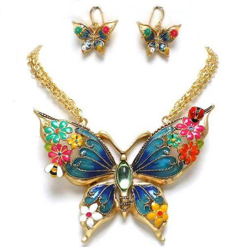 Beautiful Chunky Extra Large Multi Color Butterfly and Flowers Gold Tone Statement Pendant Necklace and Earrings Set Elegant Trendy Fashion Jewelry