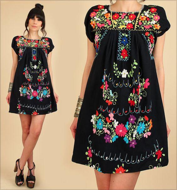 70s Style Fashion ViNtAgE Hippie Oaxacan Mexican EMBROIDERED Red Maxi Dress Boho Wedding Summer HippieGirl by Hellhound Vintage