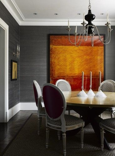 Like the color of the artwork up against the gray reeded wall paper
