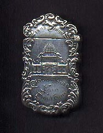 """World's Columbian Exposition Embossed Souvenir Matchsafe. Approx. 2.5"""" long. Columbian Fair Souvenir. 1492 1892."""