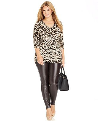 MICHAEL Michael Kors Plus Size Long-Sleeve Leopard-Print Sweater ...