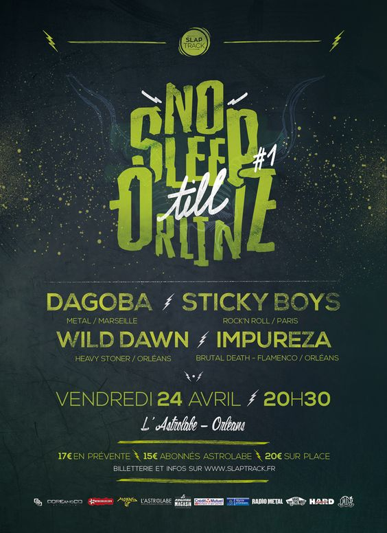 Dagoba + Wild Dawn + Sticky Boys + IMPUREZA c'est demain à L'Astrolabe - Orléans