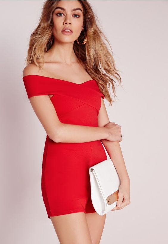 Cross Front Bardot Playsuit Red - Playsuits - Evening Playsuits - Missguided