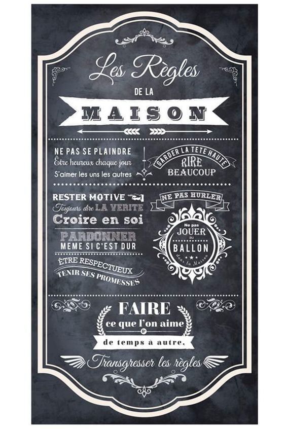 vente stickers 24345 lettrage r gles de vie sticker les r gles de la maison noir et. Black Bedroom Furniture Sets. Home Design Ideas
