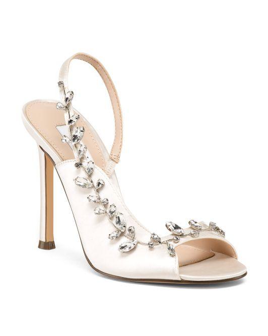 Satin Embellished Dress Sandals - Shoes