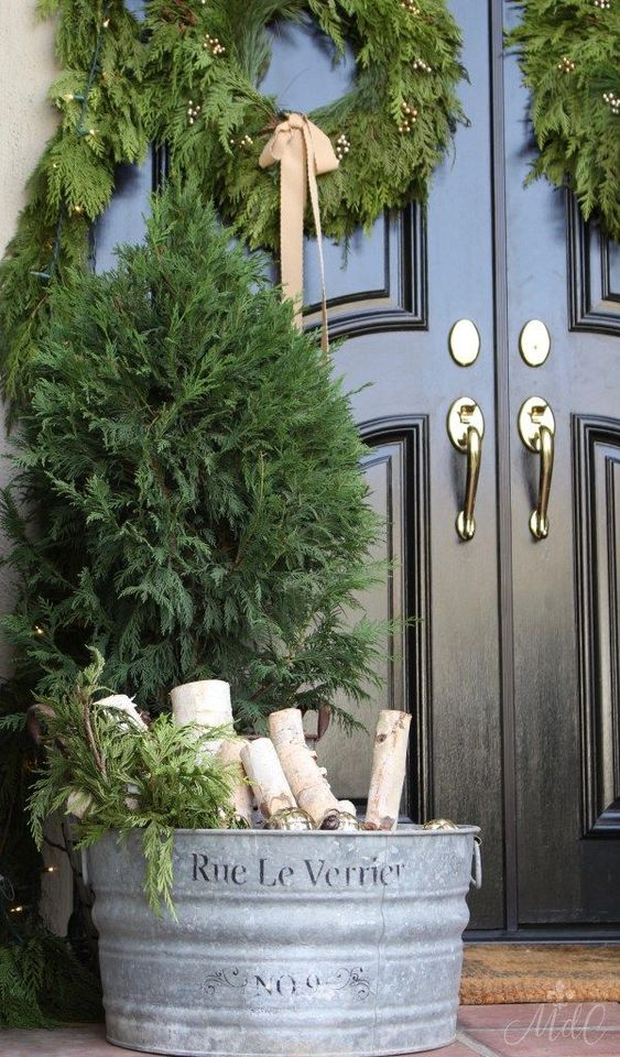 A French Inspired Christmas Front Porch Christmas Front Doors Country Christmas Decorations Outdoor Christmas Decorations