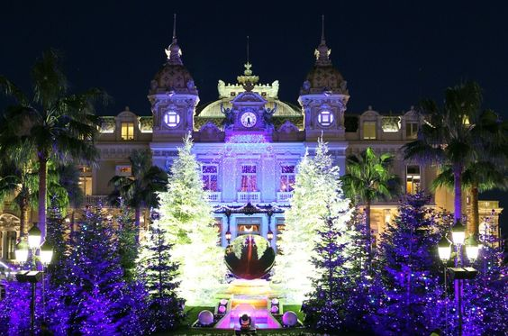 The Christmas lights in front of the Monte-Carlo Casino in Monaco