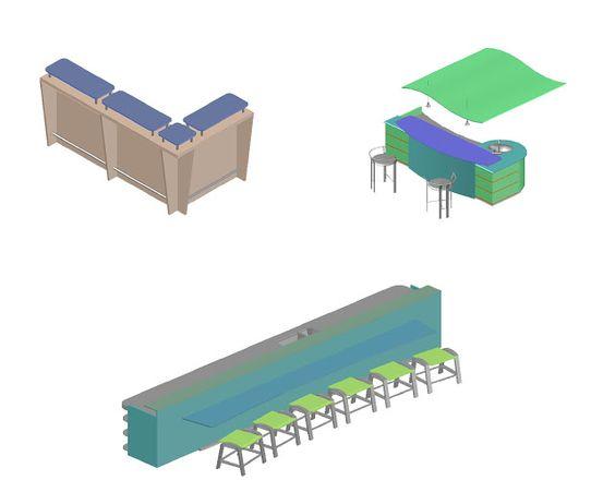 Bloc Autocad 3D pour les plans de café dwg | Génie civil et Travaux Publics Engineering