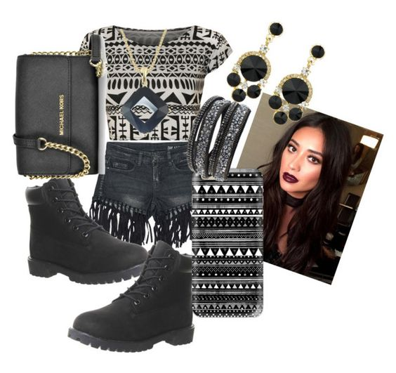 """""""black and shapes"""" by dimplespoppin33 on Polyvore featuring WearAll, Sans Souci, Timberland, Michael Kors and Casetify"""