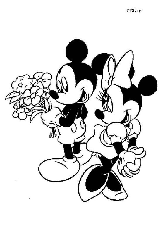 Mickey mouse and minnie mouse in love coloring page for Minnie mouse valentine coloring pages