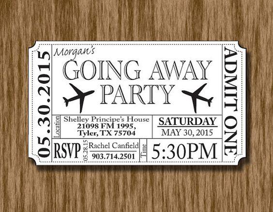 Going Away/Bon Voyage/Farewell Party Ticket by ThroughTheGlassDsgn