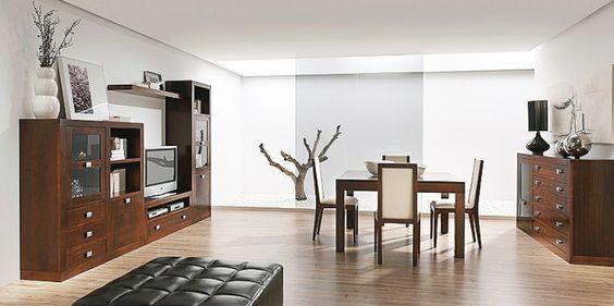 Muebles para salón comedor realizados en madera de nogal americano y