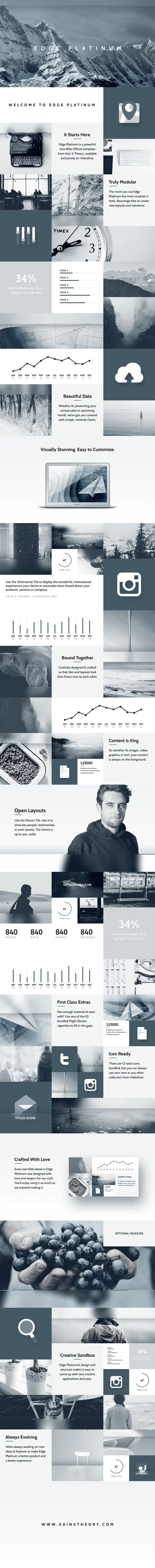 Download here: http://goo.gl/lg3Ps2  Edge Platinum is a powerful new After Effects template, designed and animated by Kain X Theory. The first in a series of grid-based presentations, it uses a grid framework to showcase images, video and any other piece of information in a smooth, elegant and professional manner.  #grid #design #web #after #effects #videohive #motion #graphics #framework #minimal #elegant #glass #template
