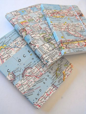 Craft activity that could stand on its own or accompany a book discussion. Decorate a notebook and 9 other crafts for old maps.