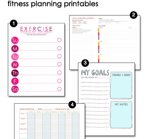 Free Printable Fitness Pages  Goal Exercises And Motivation