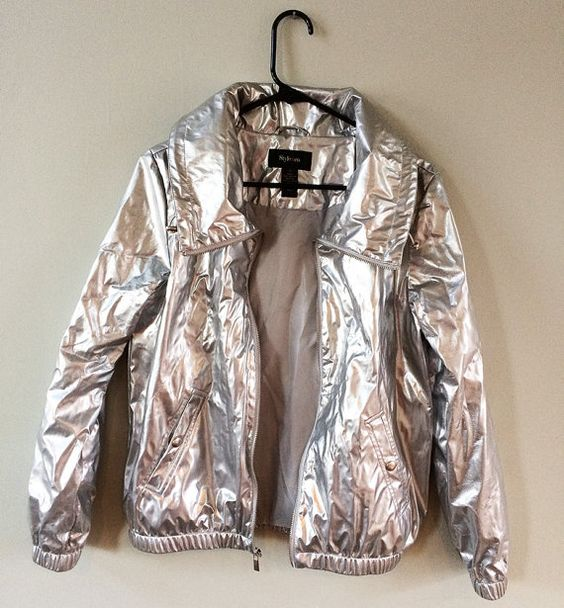 Shiny Metallic Silver Cyber Raver Windbreaker by SmileyFaceFashion ...