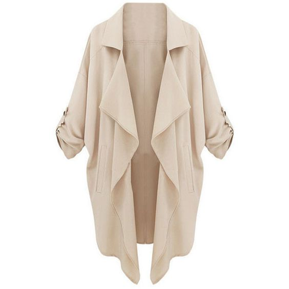 WithChic Asymmetric Camel Trench Coat ($26) ❤ liked on Polyvore featuring outerwear, coats, jackets, cardigans, romwe, pink coat, pink trench coat, asymmetrical coat, camel trench coat and trench coats