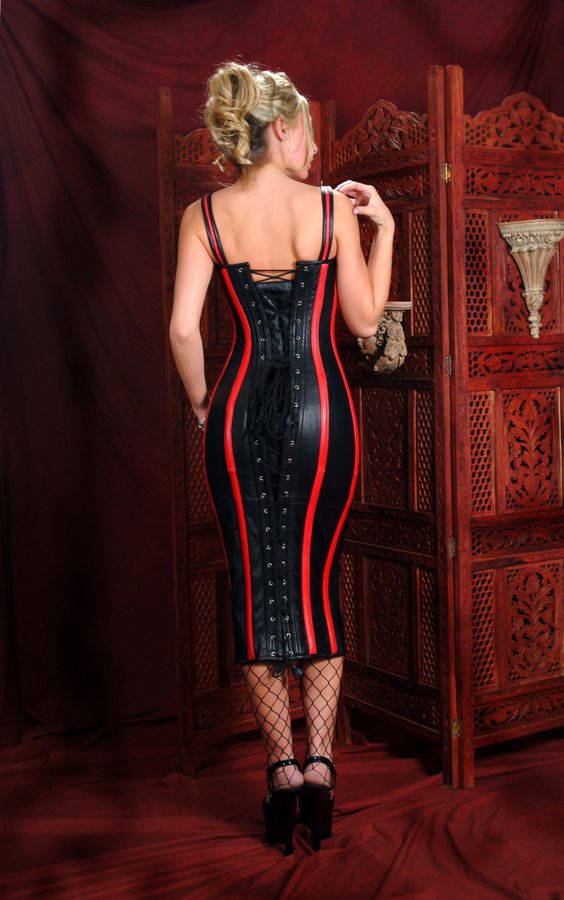 Patent leather bondage corset