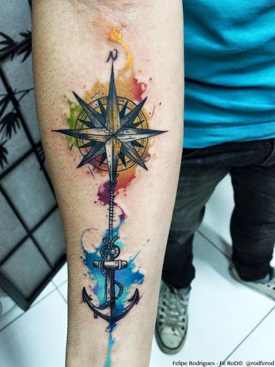 Significado Completo da Tatuagem de Âncora | rosa dos ventos em aquarela