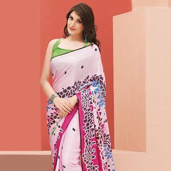 Light Pink Satin Saree with Blouse