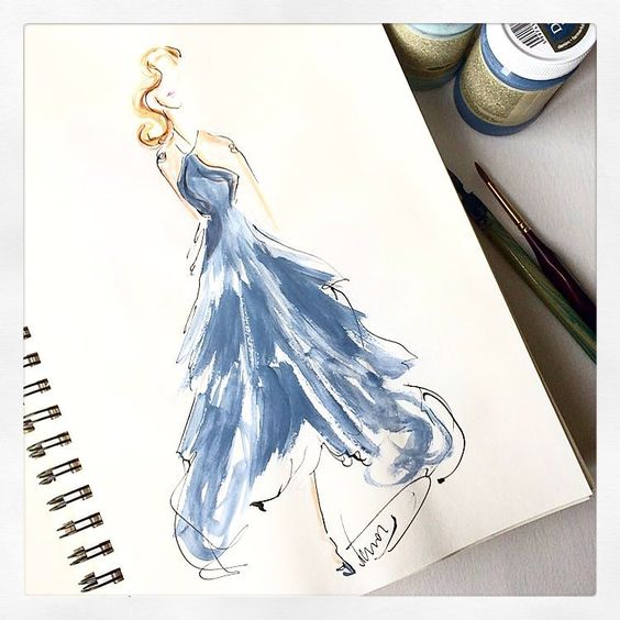 Wistful blue. Submitted by @dorinus_illustrations (Instagram: marchesafashion)