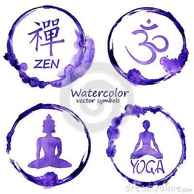 Grupo da aquarela de ícones da ioga e do buddhism