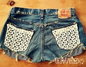 Levis Denim Shorts Lace Pockets-- love these!