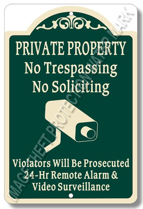 "Private Property No Trespassing No Soliciting Video Surveillance Sign 8""x12"" New…"