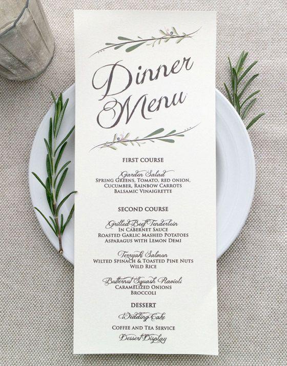 Leaves and Kraft Menu Cards by Katharine Watson at minted - wedding menu