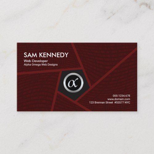 Red Pentagon Flowing Binaries Web Developer Business Card Zazzle Com Web Development Development Business Cards