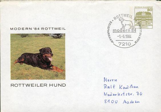 Germany BRD PS cover Rottweiler dog Hund Ganzsache hv46