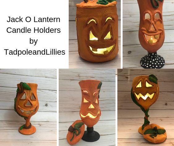 Jack O Lantern Candle Holders by TadpoleandLillies