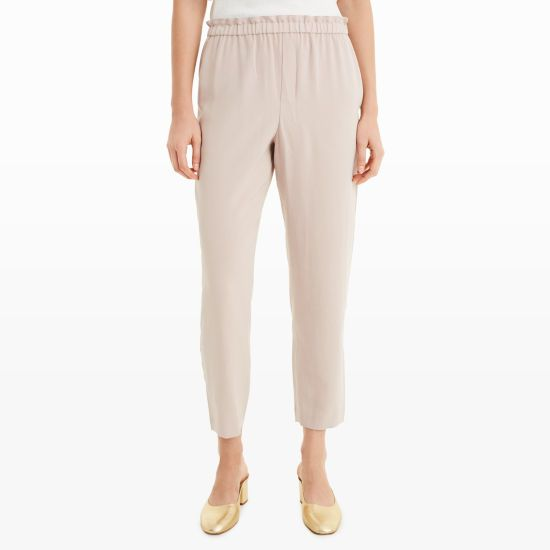 """A pair of pull-on pants with an elasticized, gathered waist and relaxed fit is a staple in chic, effortless dressing. Viscose/polyester  Straight, relaxed fit 27"""" inseam, based on a size 6 Elastic gathered waist; side seam pockets; back welt pockets  Dry clean Imported"""
