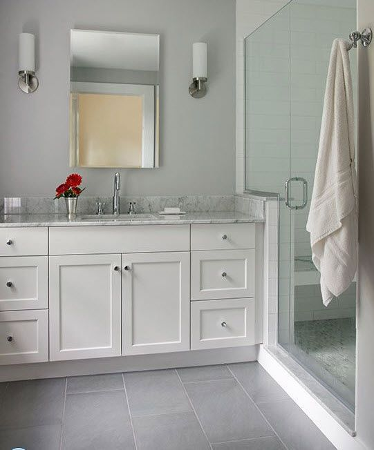 Light Gray Walls With Darker Gray Floor Grey Bathroom Tiles