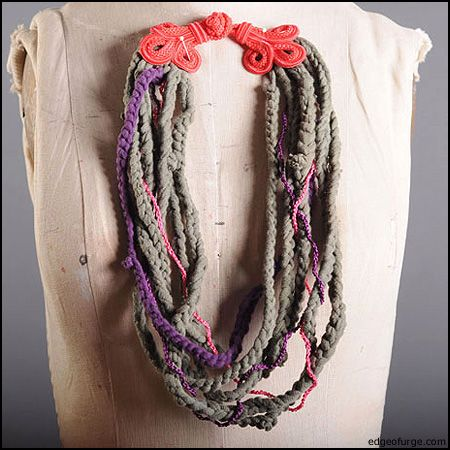 old t-shirts,sheets, etc. can be turned into a statement neclace with a simple braid and twist!