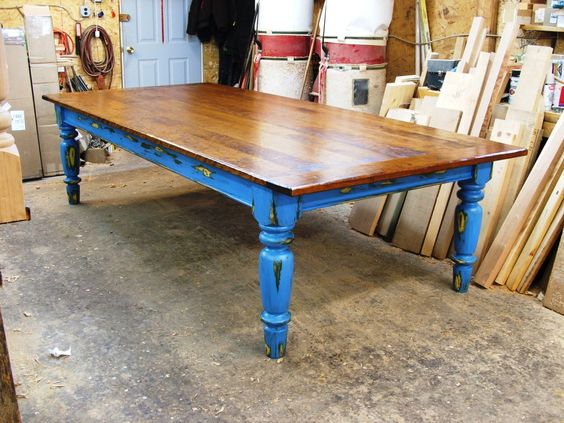 Cherry Wood Table with Blue over Green, Yellow and Red worn Finish