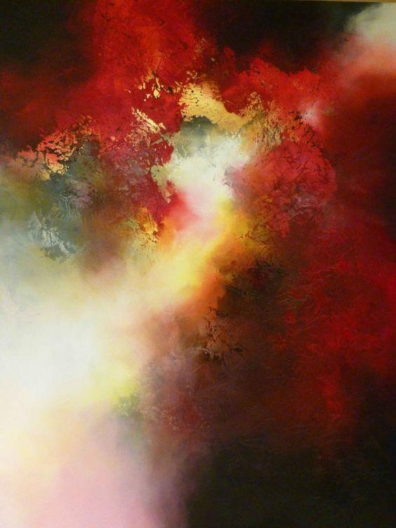 """Große abstrakte Gemälde von Simon Kenny """"Zeuge"""""""