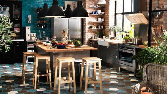 Inspiration déco industrielle http://www.m-habitat.fr/amenagement/ilot-central/bien-choisir-son-ilot-de-cuisine-426_A